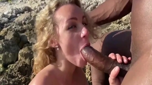 Big butt blonde having fun with BBC