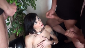 Small tits and inked Linda India in sexy stockings group sex