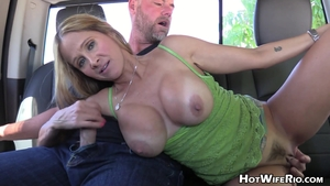 Big tits hairy blonde haired Hot Wife Rio handjob outdoors HD