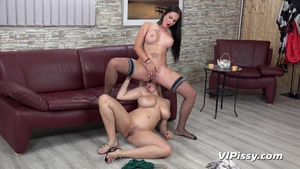 Fucking hard together with large boobs brunette