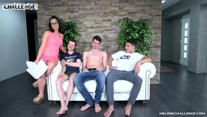 Group sex at castings together with hairy stepmom