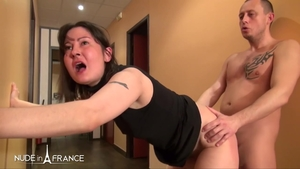 Cumshot in office escorted by dirty brunette in stockings