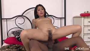 Hairy Saya Song brunette interracial pounding sex scene