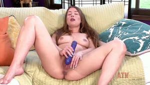 Hairy female Taylor Sands playing with toys