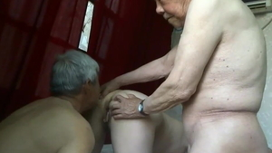 Group sex in the company of saggy tits asian amateur