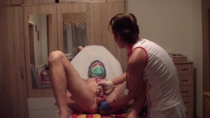 Young russian amateur smoking in the clinic