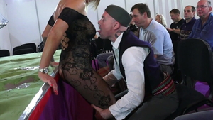 Toys action with huge boobs german in her lingerie in public
