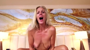 Real sex in company with saggy tits MILF