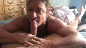 Muscle girl licking balls & swallow