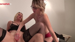 Louise Du Lac in tight stockings threesome