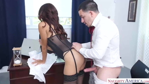 Tattooed mature threesome interracial fucking in office in HD