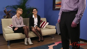 Threesome escorted by brunette in tight stockings