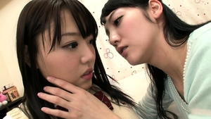 Japanese lesbians in uniform humping in HD