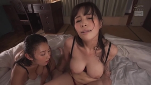 Hairy japanese brunette threesome