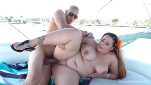 Young BBW rough handjob on the boat
