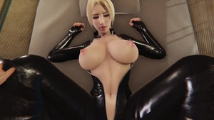 Large tits wearing latex hardcore blowjob