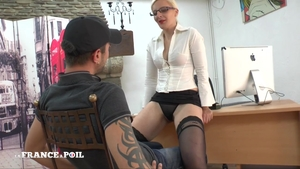 Butt pounded in office hot french in tight stockings