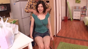 Fucking in company with big boobs asian MILF