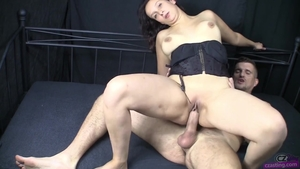 Cowgirl fuck at casting next to petite stepmom