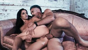 Charles Dera with Silvia Saige reverse cowgirl on sofa