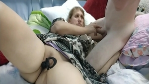 Hot amateur rides big dildo
