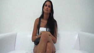 Solo small tits czech babe pussy fucking at the castings