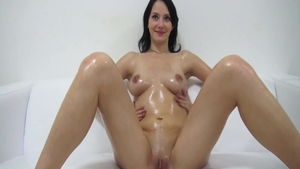 Small boobs babe oily orgasm at the castings in HD