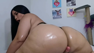 JOI horny & long haired amateur oiled ass pounding