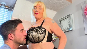 Pussy fucking along with big ass busty british wife