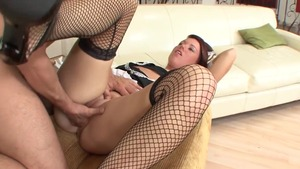Footjob escorted by maid in pantyhose