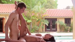Big ass brunette wishes for rough pussy fucking in the pool