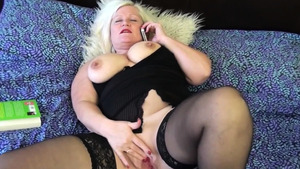 Granny Lacey Starr in tight stockings sex toys