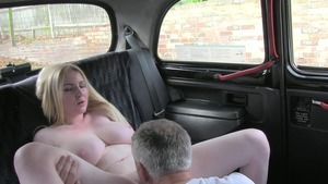 Big tits blonde cock sucking in taxi
