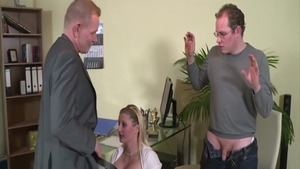 Threesome in office busty german