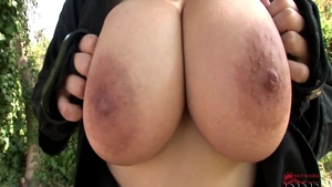 Big boobs Shione Cooper teasing outdoors